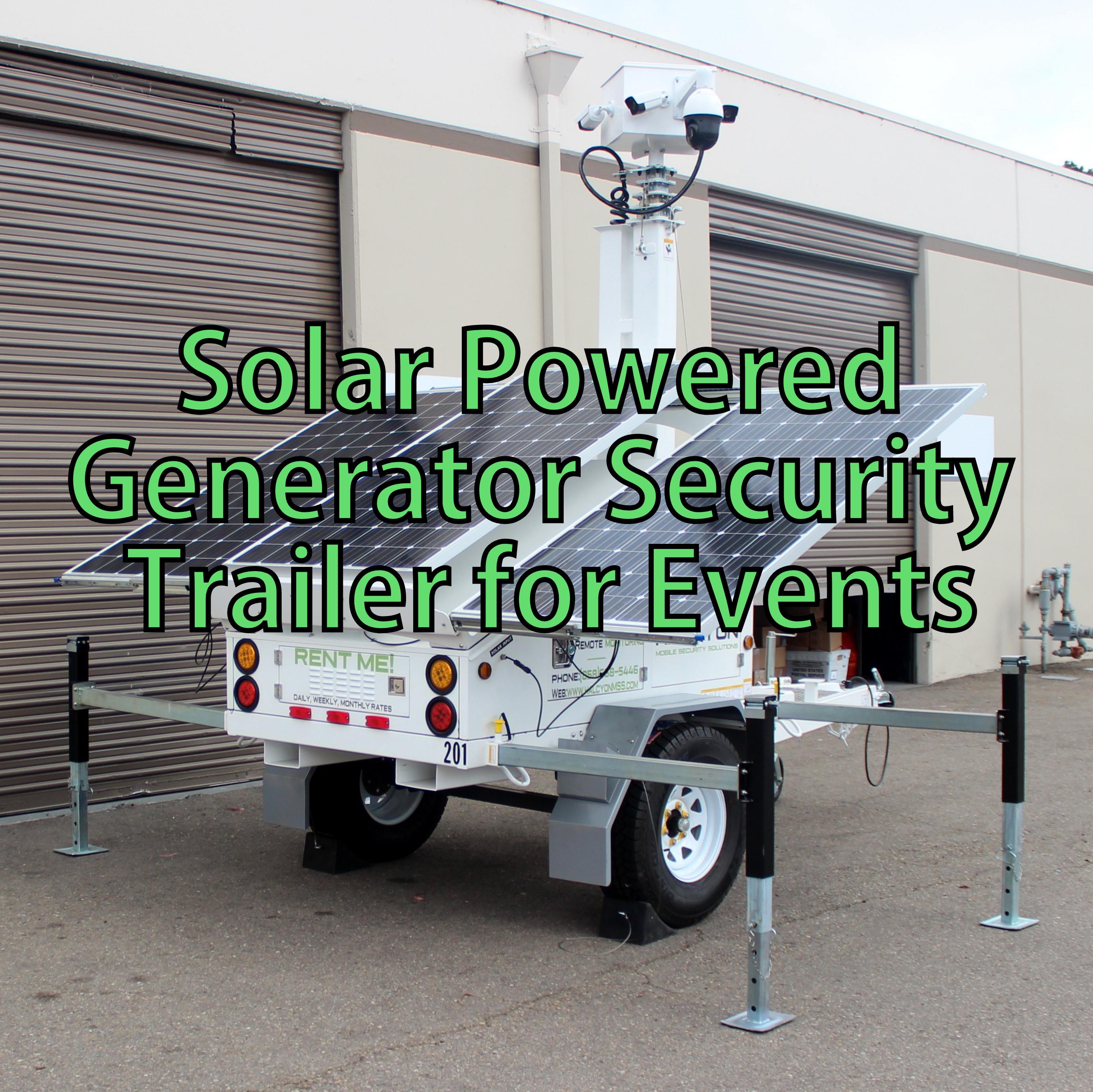 Halcyon Solar Generator Security Cameras Trailer